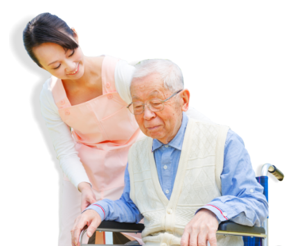 caregiver assisting patient in a wheelchair
