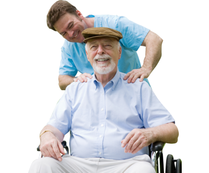 caregiver massaging patient in a wheelchair
