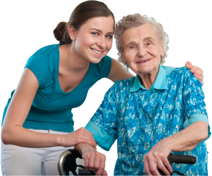 caregiver and patient smiling